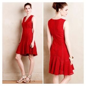 Anthropologie San & Soni Flounced Lace Red Dress 2